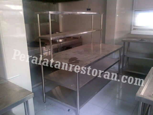 work table w middle offer shelf peralatan dapur restoran